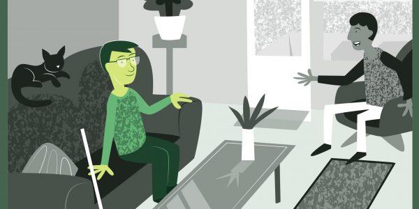 Bilden visar en person som sitter hemma i sin lägenhet och samtalar med en gäst. De verkar trivas i miljön